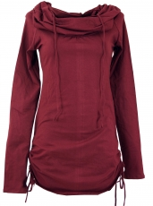 Longshirt, mini dress with wide shawl hood - bordeaux