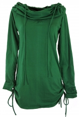 Longshirt, mini dress with wide shawl hood - emerald green
