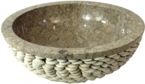 Marble top wash-basin, wash-basin grey with riverstone