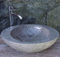 Solid oval marble counter top sink, washbasin, natural stone hand..