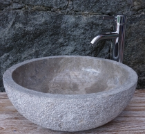 Solid round marble top wash basin, wash bowl, natural stone hand-..