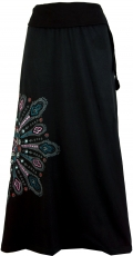 Maxi skirt, long skirt Mandala, Boho - black/pink