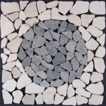 Mosaic tile with marble circle (Mo-08) - Design 20