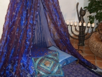 Mosquito net, four poster bed 1001 night - blue