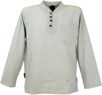 Nepal Ethno fisherman shirt with coconut buttons, Goa shirt - gre..