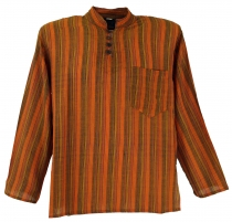 Nepal Fisherman Shirt striped Goa Hippie Shirt - orange