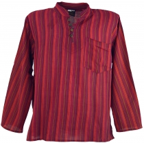 Nepal Fisherman Shirt striped Goa Hippie Shirt - red
