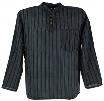 Nepal Fisherman Shirt striped Goa Hippie Shirt - black