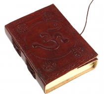 Notebook, leather book, diary cover `Om` 9*12 cm