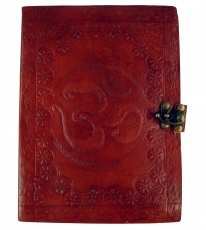 Notebook, leather book, diary with leather cover and `OM motif` -..