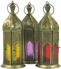 oriental brass/glass lantern in marrocan design, lantern in 6 col..