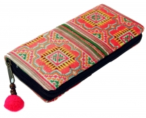 Embroidered ethno wallet Chiang Mai, Boho wallet - pink/colorful