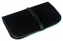 Tobacco bag, tobacco pouch, rotating leather bag - black