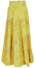 Maxi skirt batik, long summer skirt made of sarong fabric - yello..