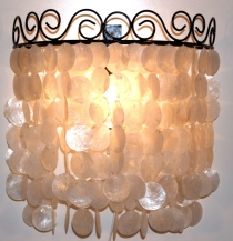 Wall lamp/wall lamp Concha, shell lamp from hundreds of Capiz, mo..