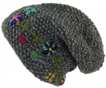Wool beanie with flower embroidery, Nepal cap - grey