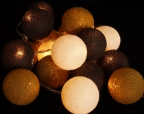 Fabric Ball Light Chain LED Ball Lampion Light Chain Chocolate Br..