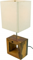 Table Lamp/Table Lamp, handmade in Bali, recycled wood, cotton - ..