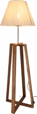 Floor lamp/floor lamp, handmade, teak, cotton fabric - model Daka..