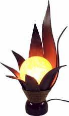 Palm leaf lotus table lamp/table lamp, handmade in Bali from natu..