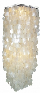 Ceiling Lamp/Ceiling Lamp, Shell Lamp made of hundreds of capiz, mother of pearl tile - Model Sabah XL chrome - 200x40x40 cm