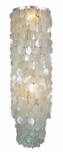 Ceiling Lamp/Ceiling Lamp, Shell Lamp with hundreds of capiz, mother of pearl plates - Model Samoa long chrome - 100x40x40 cm