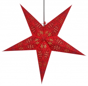 Foldable Advent illuminated paper star, Poinsettia 60 cm - Anubis red