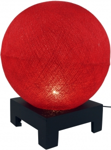 Ball table lamp with MDF stand made of cotton threads - red - 40x30x30 cm Ø30 cm