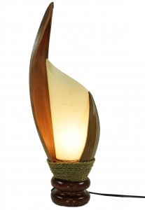 Palm leaf table lamp/table lamp, handmade in Bali from natural material, palm wood - model Palmera 5 - 50x11x17 cm