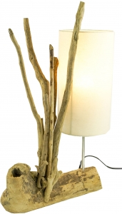 Table lamp/table lamp, handmade in Bali, driftwood, cotton - model Madura - 60x40x17 cm