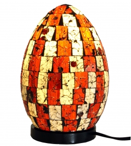 Table Lamp/Table Lamp Mojo.3, handmade in Bali, fiberglass with glass mosaic - 22x16x16 cm