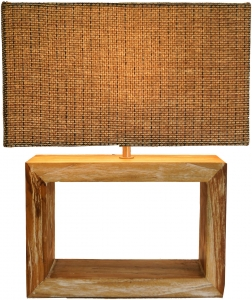 Table lamp/table lamp, handmade, recycled wood base, wicker lampshade - model Deweso - 43x36x19 cm