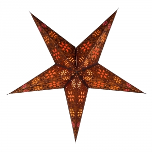 Foldable Advent illuminated paper star, Poinsettia 60 cm - Anubis brown