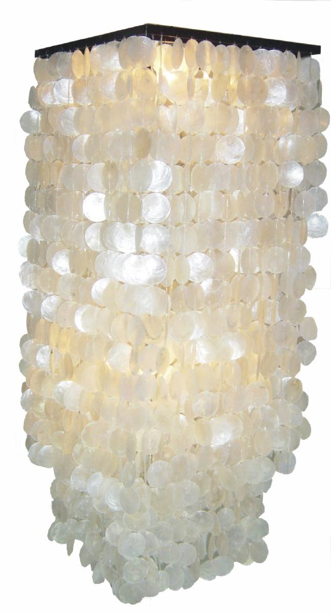 NEU CAPIZ Muschellampe Deckenleuchte Muschelleuchte Deckenlam rund NATUR 50 cm