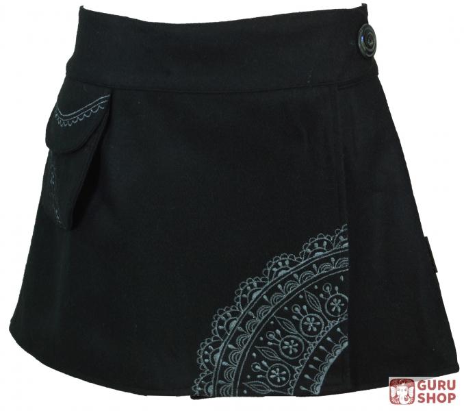818907cee3 Goa wrap skirt, embroidered wool felt cacheur - black