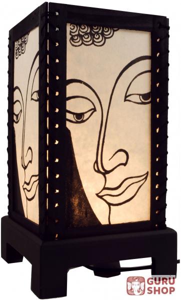 transparente deko tischleuchte aus holz handgeschopftem papier buddha weiss 36x18x18 cm