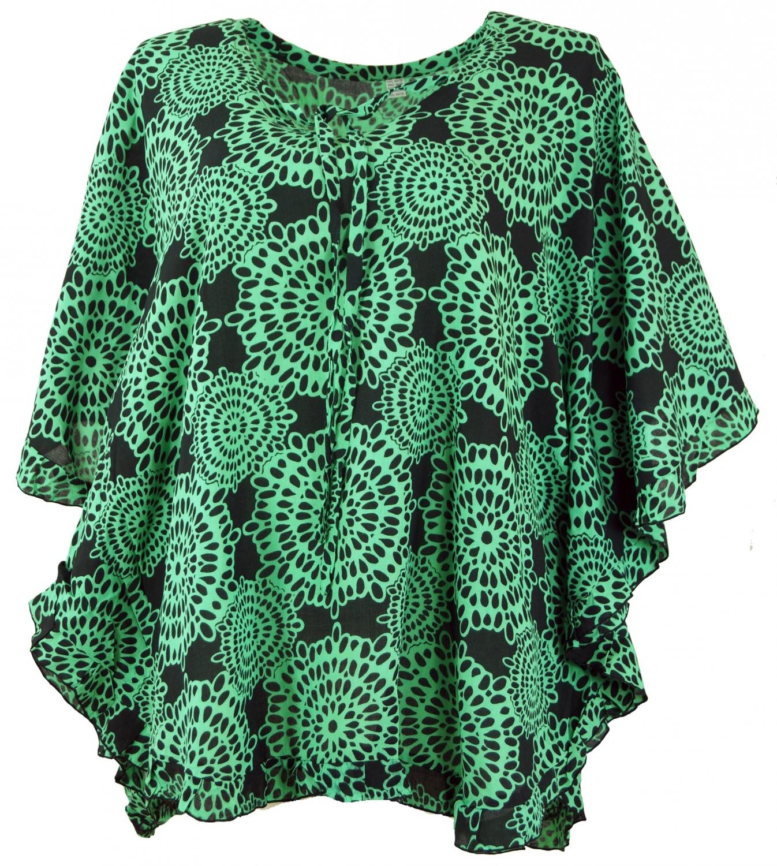online hier suche nach neuestem limitierte Anzahl Poncho, Kaftan, Tunika, Minikleid, Damen Übergröße, Kurzarm - schwarz/grün
